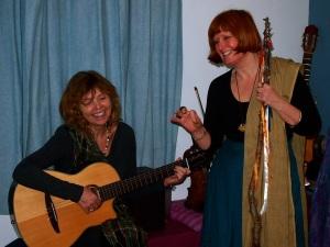 Annie and Siân rehearsing.